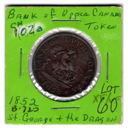 1852 BANK OF UPPER CANADA ONE HALF PENNY TOKEN ST. GEORGE AND THE DRAGON