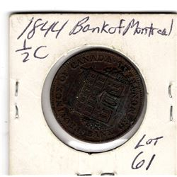 1844 BANK OF MONTREAL HALF CENT