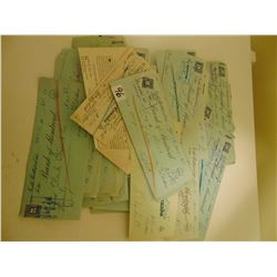 VINTAGE 1940/50'S USED CHEQUES WITH REVENUE STAMPS