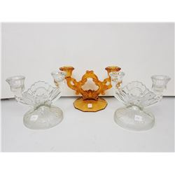 depression glass candle holders (3)
