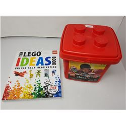 red container of lego/lego ideas book