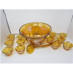 Iridescent punch bowl- 12 cups with ladle