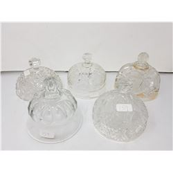 lot of pressed glass butter lids