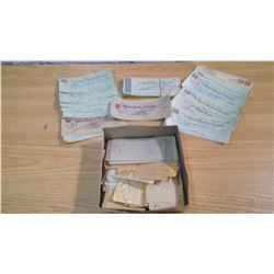 BOX OF ANTIQUE PAPER & CHEQUES