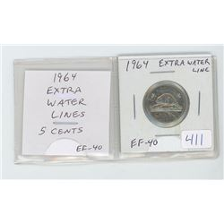 1964 Extra Water Lines 5 cents EF-40.