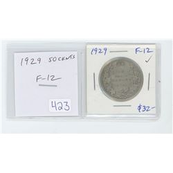 1929 50 cents F-12.