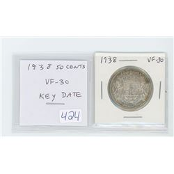1938 50 cents VF-30. Key Date.