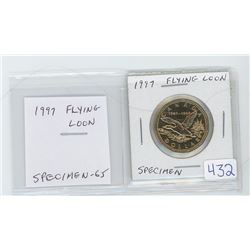 1997 Flying Loon dollar. Specimen-65. celebrates the 10th Anniversary of the first loonie. Scarce.