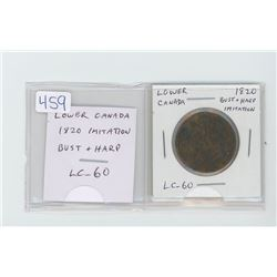 Lower Canada pre-Confederation token: 1820 Imitation Bust and Harp token. LC-60. VG-8.
