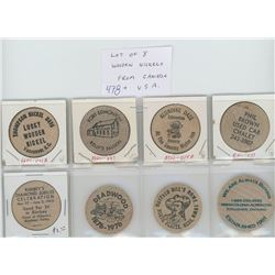 Lot of 8 wooden nickels from Canada and the U.S.