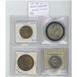 Lot of 4 John F. Kennedy medals and coins: 35th President medal with George Washington on other side