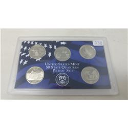 Proof set of 5 U.S. State quarters from the San Francisco Mint: 2004S Michigan, Florida, Texas, Iowa