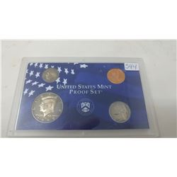 1999S Proof set of 4 U.S. coins from 1 cent to half dollar from the San Francisco Mint.