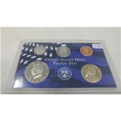 2003S Proof set of 5 U.S. coins from 1 cent to Sacagawea dollar from the San Francisco Mint.