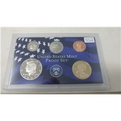 2007S Proof set of 5 U.S. coins from 1 cent to Sacagawea dollar from the San Francisco Mint.