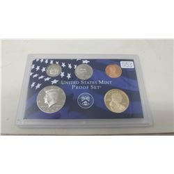 2008S Proof set of 5 U.S. coins from 1 cent to Sacagawea dollar from the San Francisco Mint.