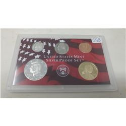 2000S Silver Proof set of 5 U.S. San Francisco Mint coins from 1 cent to Sacagawea dollar.