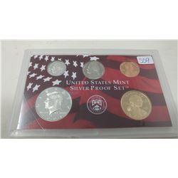 2001S Silver Proof set of 5 U.S. San Francisco Mint coins from 1 cent to Sacagawea dollar.