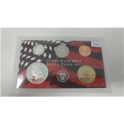 2003S Silver Proof set of 5 U.S. San Francisco Mint coins from 1 cent to Sacagawea dollar.