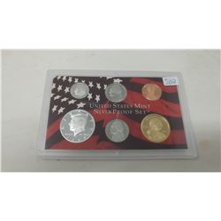 2004S Silver Proof set of 6 U.S. San Francisco Mint coins from 1 cent to Sacagawea dollar.
