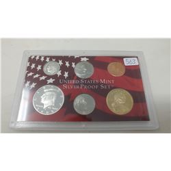 2005S Silver Proof set of 6 U.S. San Francisco Mint coins from 1 cent to Sacagawea dollar.