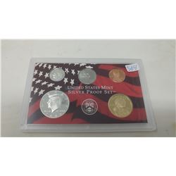 2006S Silver Proof set of 5 U.S. San Francisco Mint coins from 1 cent to Sacagawea dollar.