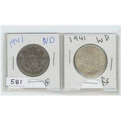 1941ND,1941WD CANADIAN 50 CENT