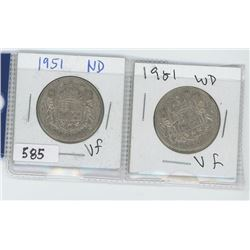 1951ND,1951WD CANADIAN 50 CENT
