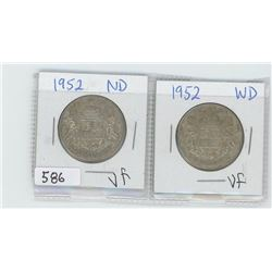 1952ND,1952WD CANADIAN 50 CENT