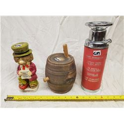 TWO BOTTLES, ONE DECANTER (BARRELL & FIRE EXTINGUISHER SHAPED)