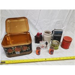 ASSORTED ITEMS IN RED ROSE TIN