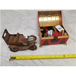 ANTIQUE TIN CAR AND TREASURE CHEST WITH RCMP BEARS
