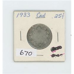 1933 CANADIAN 25 CENT