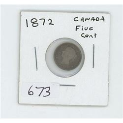 1872 CANADIAN 5 CENT