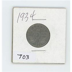 1934 CANADIAN 5 CENT