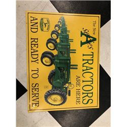 NO RESERVE JOHN DEERE A SERIES TRACTORS COLLECTIBLE SIGN