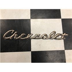 NO RESERVE UNIQUE WRITTEN CHEVROLET SIGN AND SMALL MACK TRUCK EMBLEM TWO SELLING AS ONE LOT