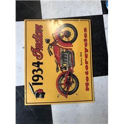 NO RESERVE 1934 INDIAN MOTORCYCLES SERIES 402 COLLECTIBLE SIGN