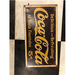 NO RESERVE COCA COLA VINTAGE COLLECTIBLE SIGN YELLOW AND BLACK