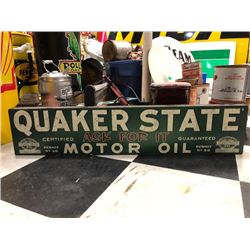 NO RESERVE QUAKER STATE MOTOR OIL WOODEN SIGN