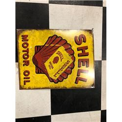 NO RESERVE VINTAGE SHELL MOTOR OIL COLLECTIBLE SIGN