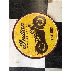 NO RESERVE RARE VINTAGE INDIAN MOTORCYCLE EST 1901 COLLECTIBLE SIGN