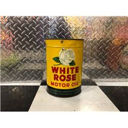 NO RESERVE RARE VINTAGE WHITE ROSE MOTOR OIL CAN