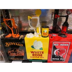 NO RESERVE COLLECTIBLE CUSTOM WHITE ROSE MOTOR OIL GAS PUMP