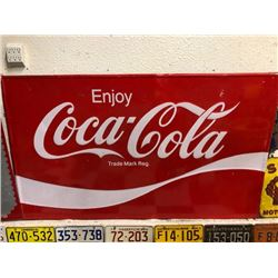 NO RESERVE RARE VINTAGE LARGE COCA COLA COLLECTIBLE SIGN HIGHLY DESIRABLE