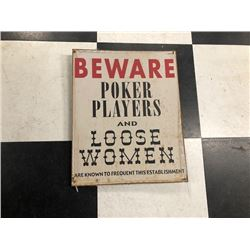 NO RESERVE POKER PLAYER SIGN