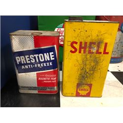 NO RESERVE TWO VINTAGE COLLECTIBLE CANNISTERS PRESTONE ANTI FREEZE AND SHELL OIL