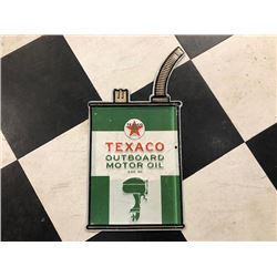 NO RESERVE TEXACO OUTBOARD MOTOR OIL COLLECTIBLE SIGN