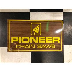 NO RESERVE TWO CHAINSAWS AND ONE PIONEER CHAINSAWS SIGN SELLING AS ONE LOT!