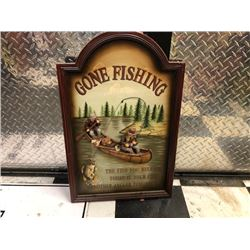 NO RESERVE GONE FISHING SIGN